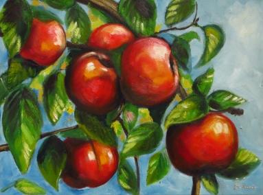 Apple, Oil on canvas, 40x30 cm