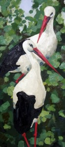 Storks, Oil on canvas, 60x30 cm