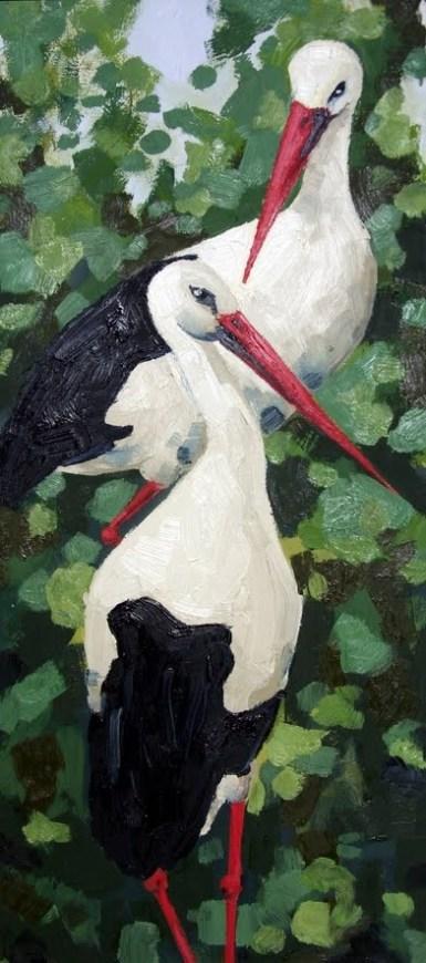Storks, Oil on canvas, 60x30 cm