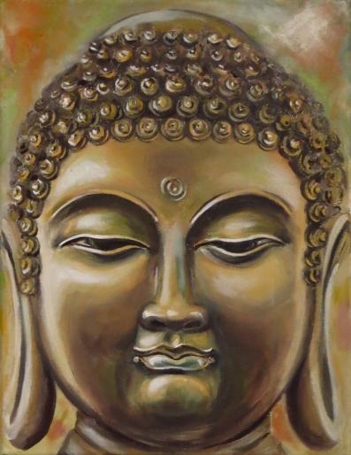 Buddha, Oil on canvas, 30x23 cm