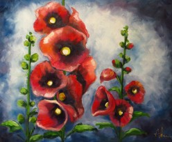 Red Alcea, Oil on canvas, 51x41 cm
