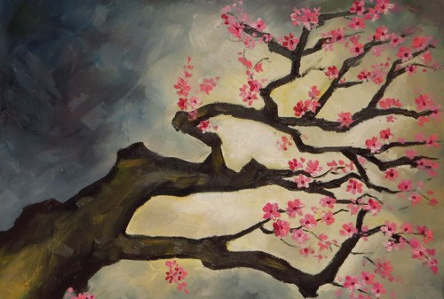 Cherry Blossom Tree, Oil on canvas, 40x30 cm