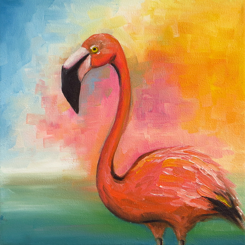Flamingo - Oil on canvas, 20 x 20 cm
