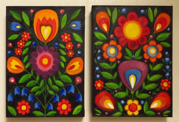 Folk Flowers, Oil on canvas, (2x) 30,5 x 22,5 x 3 cm