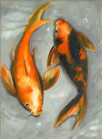 Koi Fishes, Oil on canvas, 24x18 cm