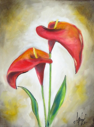 Calla Flowers, Oil on canvas, 40x30 cm