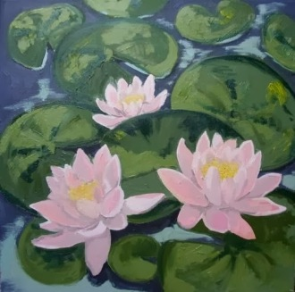 Water Lilies, Oil on canvas, 40x40 cm