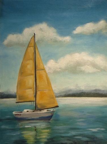 Sailboat, Oil on canvas, 40x30 cm