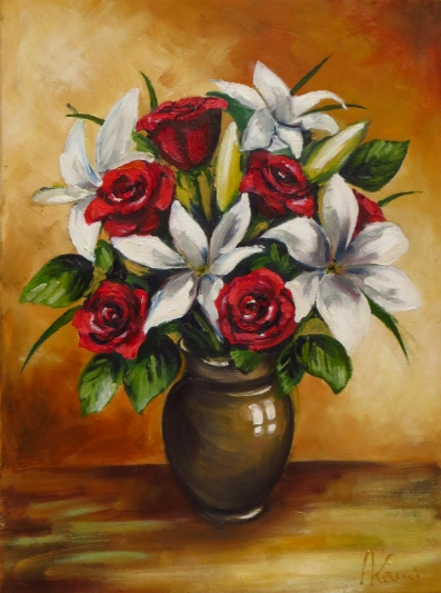 Lilies and Roses, Oil on canvas, 40x30 cm