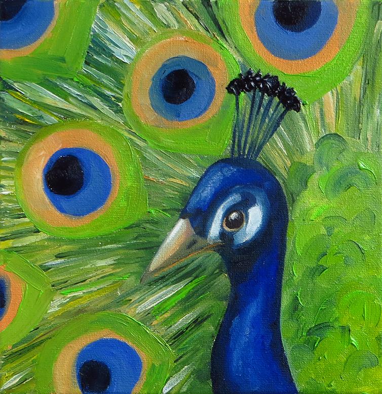 Peacock - Oil on canvas, 20 x 20 cm