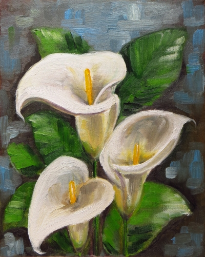Calla Lilies, Oil on canvas, 25x20 cm