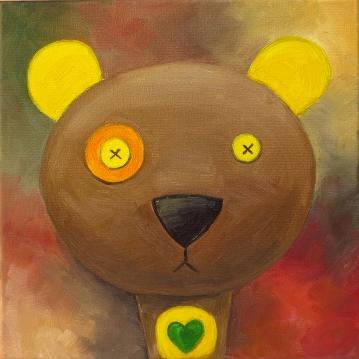 Bear, Oil on canvas, 20x20 cm