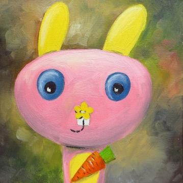 Bunny, Oil on canvas, 20x20 cm