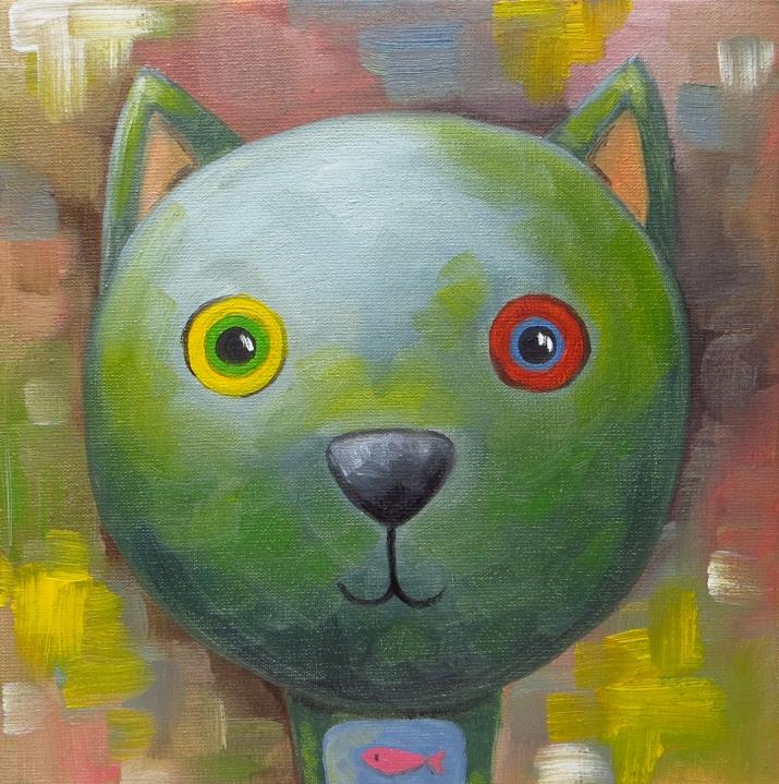 Cat, Oil on canvas, 20x20 cm