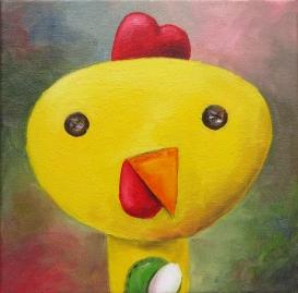 Chicken, Oil on canvas, 20x20 cm
