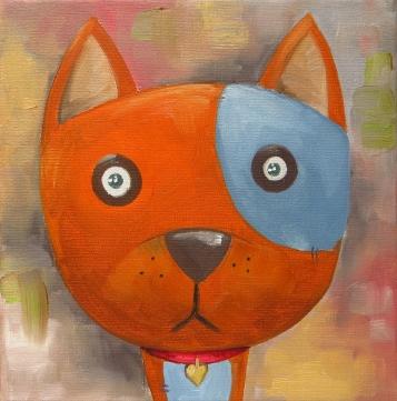 Dog, Oil on canvas, 20x20 cm