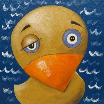 Sleepy Duck, Oil on canvas, 20 x 20 cm