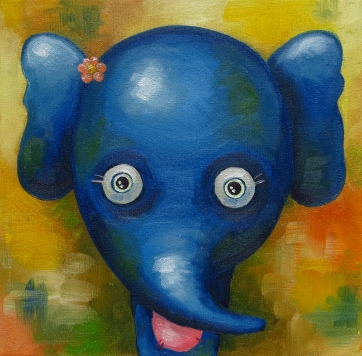 Elephant, Oil on canvas, 20x20 cm