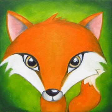 Fox Portrait, oil on canvas, 20 x 20 cm