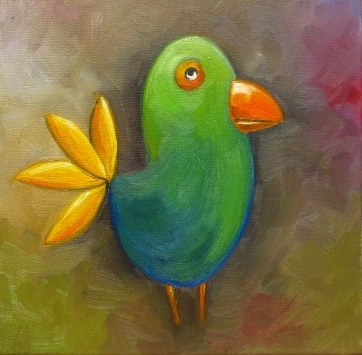 Green Bird , Oil on canvas, 20x20 cm