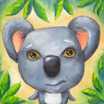 Koala Bear, Oil on Canvas, 20x20 cm