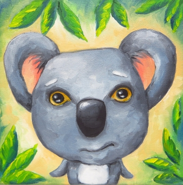 Koala Bear, Oil on Canvas, 20x20 cm