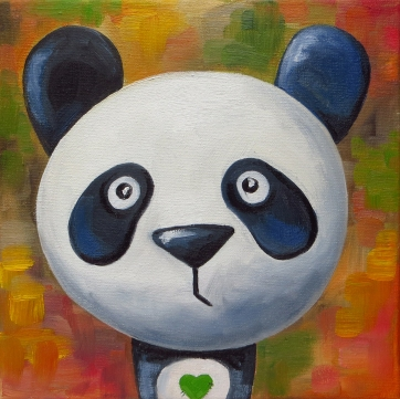 Panda, Oil on canvas, 20x20 cm