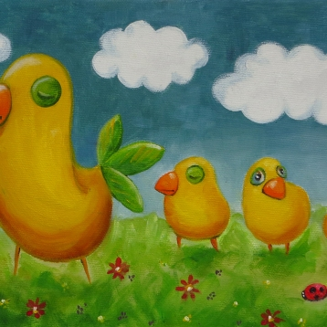 Birdie's Motherhood, Oil on canvas, 30x20 cm