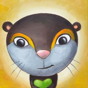 Otter Portrait, Oil on canvas, 20 x 20 cm