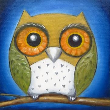 Owl, Oil on canvas, 20 x 20 cm