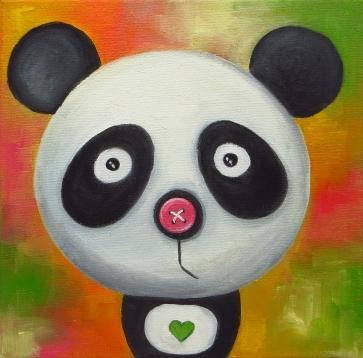 Pandas Portrait, Oil on canvas, 20x20 cm