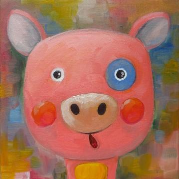 Piggy, Oil on canvas, 20x20 cm