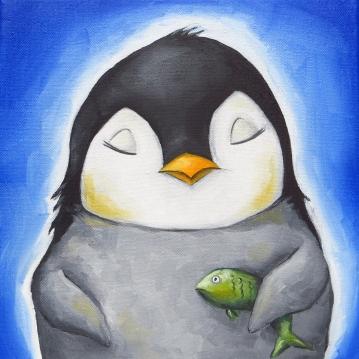 Penguin Portrait, Oil on Canvas, 20x20 cm