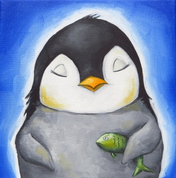 Penguin Portrait, Oil on Canvas, 20x20 cm
