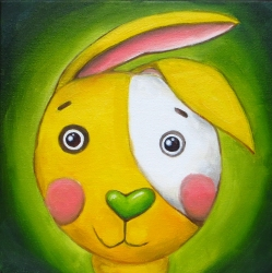 Yellow Rabbit, Oil on canvas, 20 x 20 cm