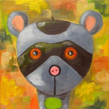 Raccoon, Oil on canvas, 20x20 cm