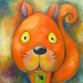 Squirrel, Oil on canvas, 20x20 cm