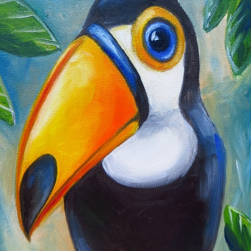 Toucan, Oil on canvas, 30 x 20 cm