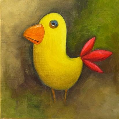 Yellow Bird, Oil on canvas, 20x20 cm,