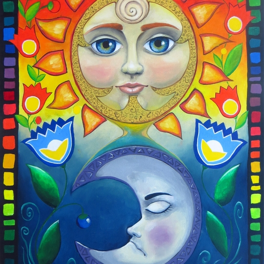 Sun and moon - oil painting