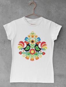 Two Roosters - Digital illustration, mockup t-shirt