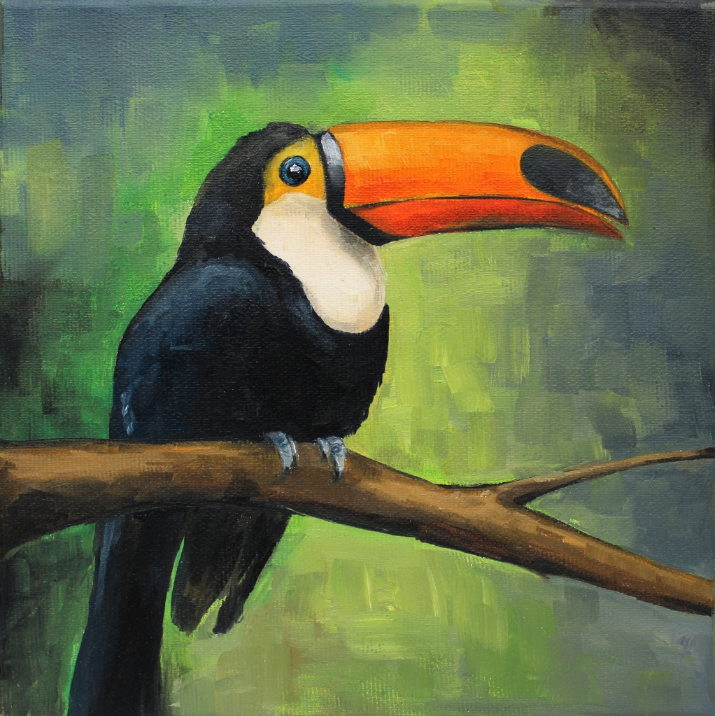 Toucan - Oil on Canvas, 20x20 cm